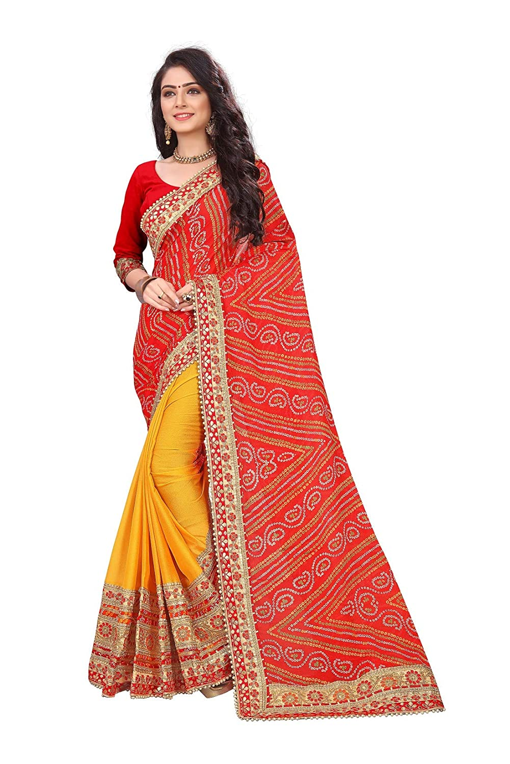 SARIKA Women's Bandhani Chiffon Saree With Blouse Piece - Kwirfy® -