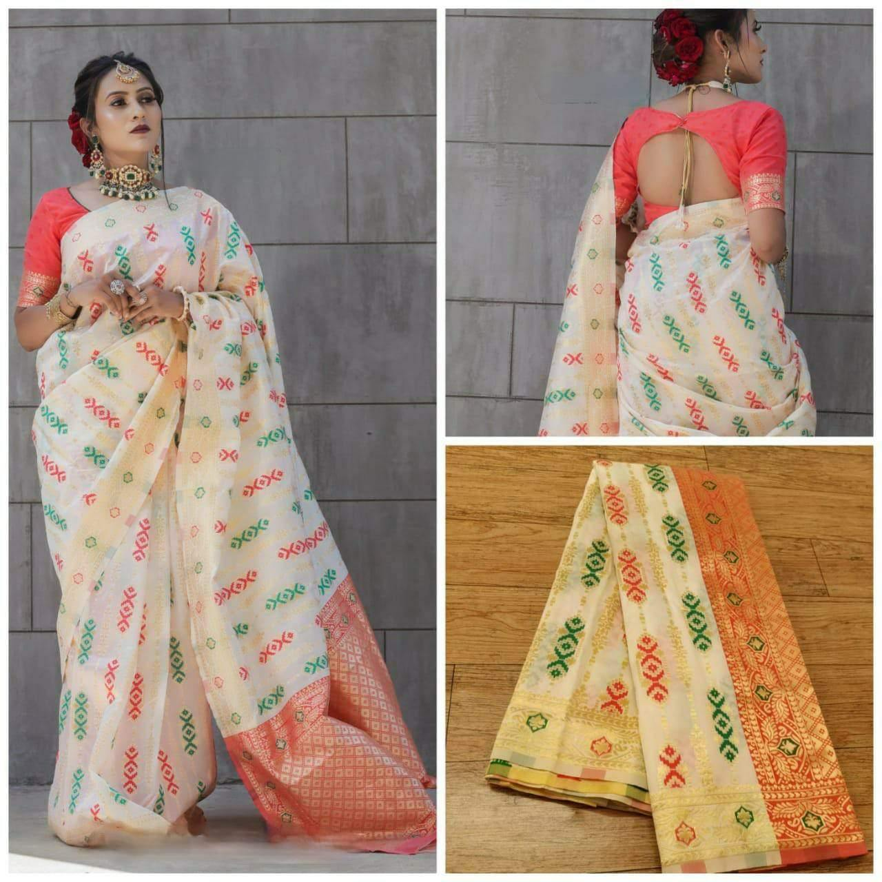 Modern Traditional Kanchupuram silk saree Single color - Kwirfy® - Banarasi saree, Cotton, cotton saree, cotton silk saree, Kanchipuram saree, Kanchipuram White saree, Kanjivaram white saree, paithani saree, paithani saree kimat, pattu saree, Saree cotton, silk cotton saree, silk saree, soft banarasi silk saree, White paithani saree
