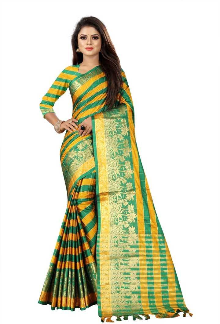 Design  Silk Cotton Saree Woven Zari border with Tasselled detail With Blouse Piece - Kwirfy® - Cotton, cotton saree, cotton silk saree, daily wear saree, party wear saree, silk, silk cotton saree, silk saree