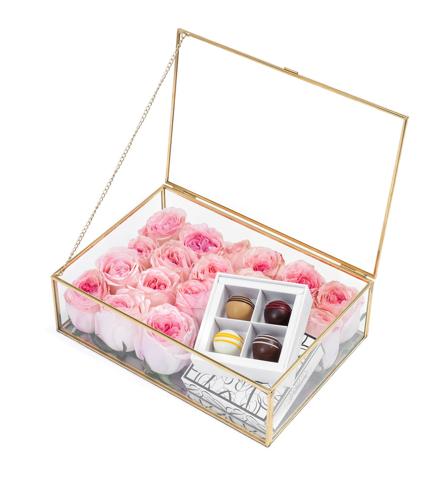 Pink Roses Glass Box with Praline Chocolate Set - Flowers box Blooms and Blossoms Rosewood Hong Kong