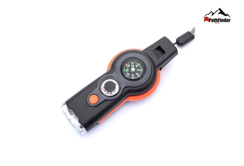 ABS Multi-functional Survival Emergency Whistle with Compass Led Flashlight Thermometer- FCP