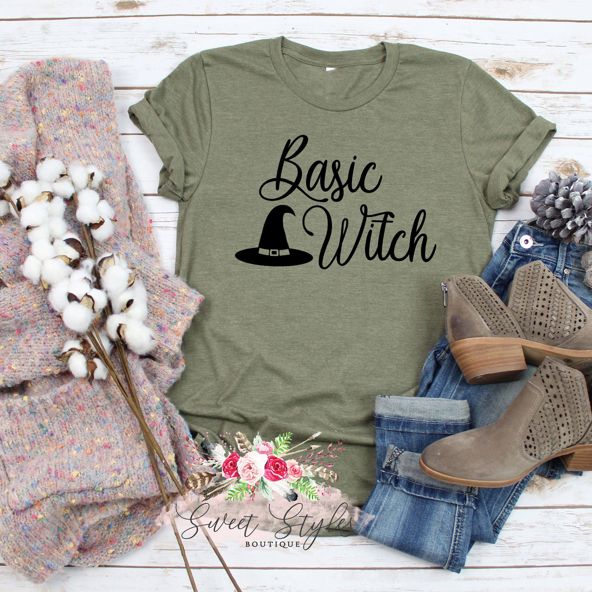 Basic witch Fall Halloween T-shirt-Sweet Styles boutique