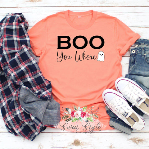 Boo you whore mean girls ghost Halloween T-shirt-Sweet Styles boutique