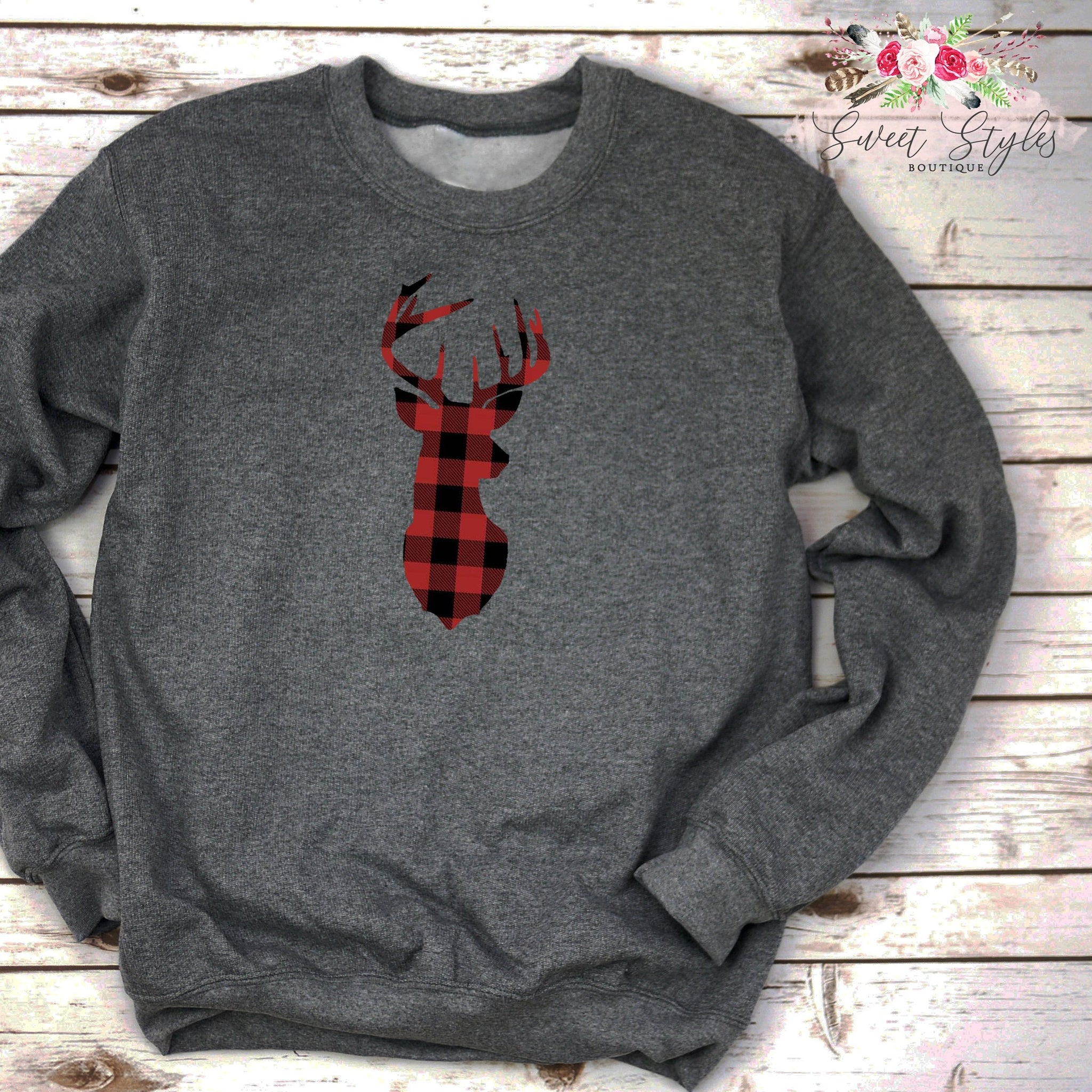 Buffalo plaid deer head-Sweet Styles boutique