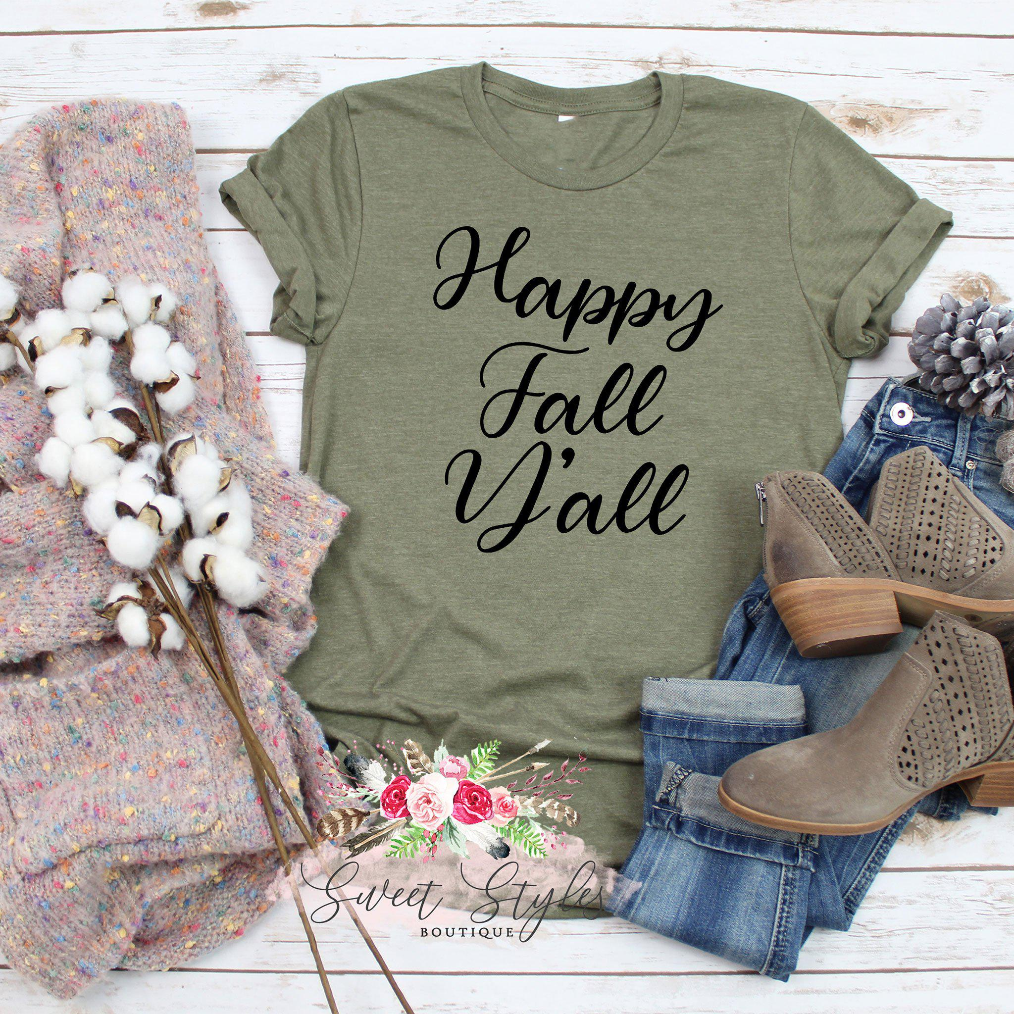 Happy fall y'all T-shirt-Sweet Styles boutique