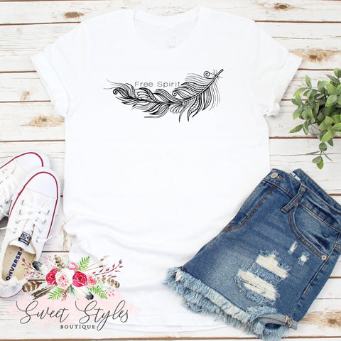 Boho feather graphic T-Shirt-Sweet Styles boutique