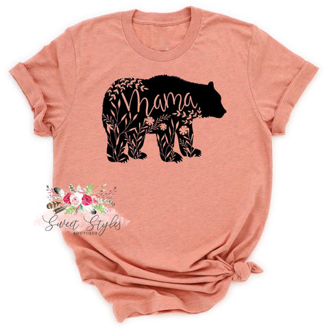 Floral mama bear graphic T-shirt-Sweet Styles boutique