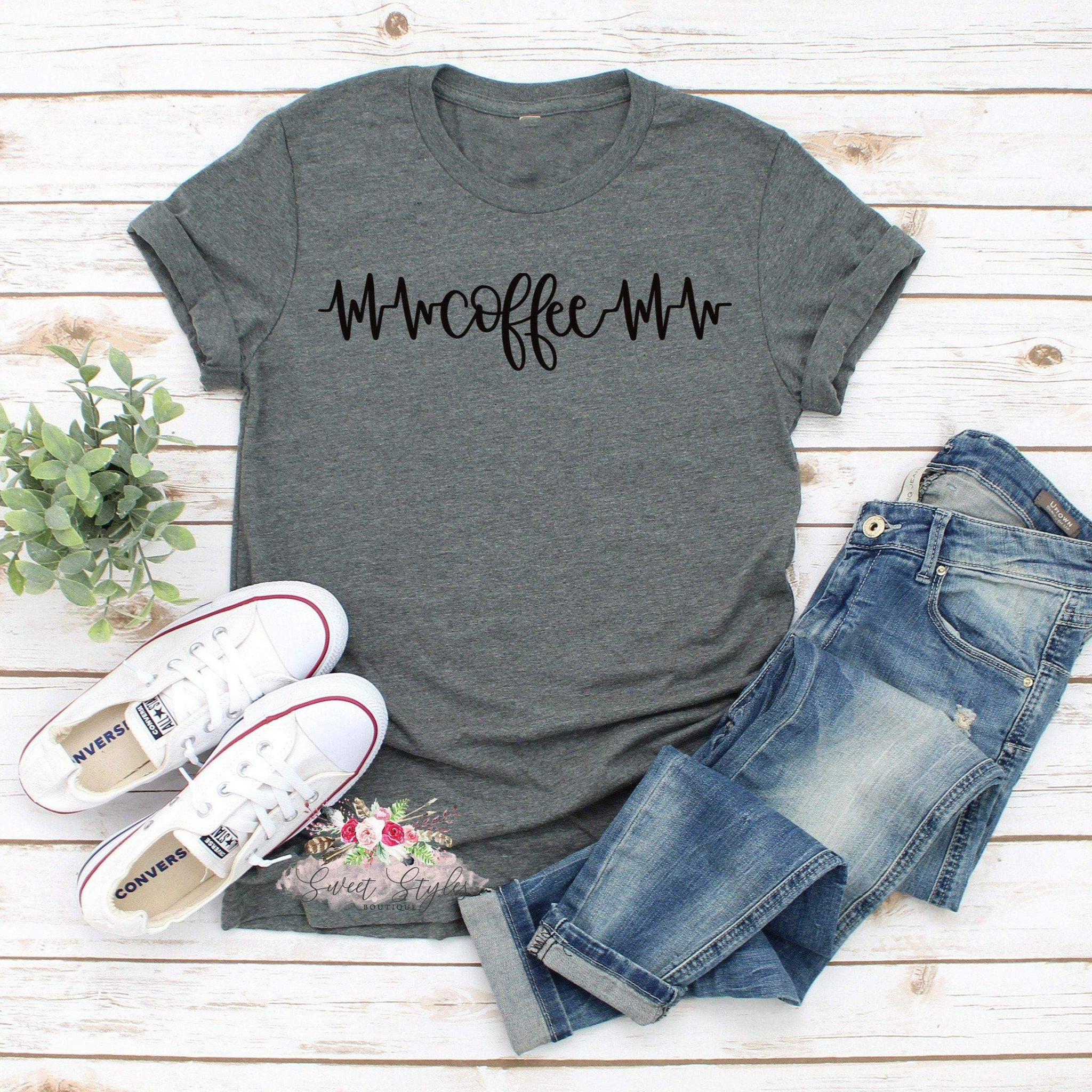 Coffee life line graphic T-shirt-Sweet Styles boutique
