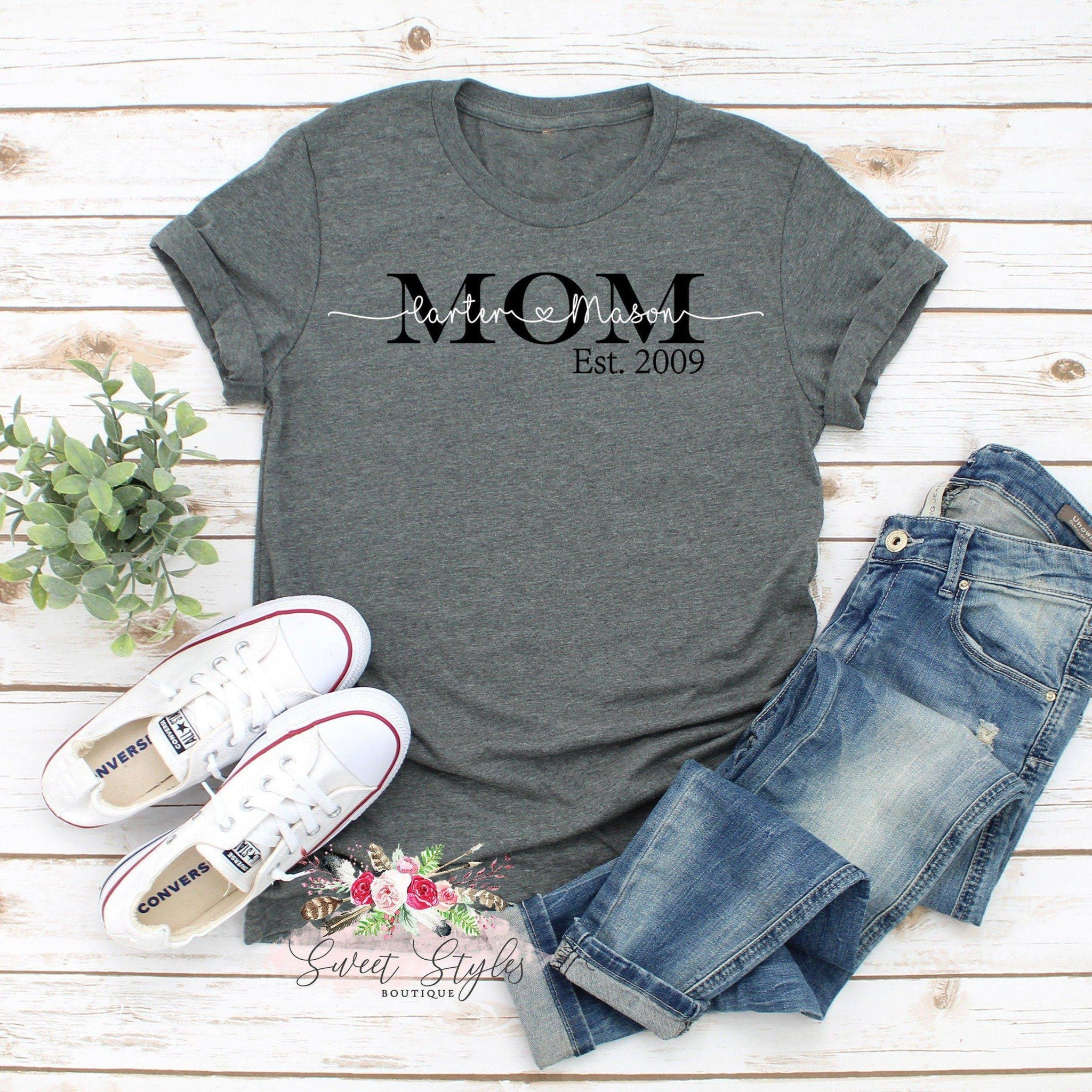 kids names mom established T-shirt-Sweet Styles boutique
