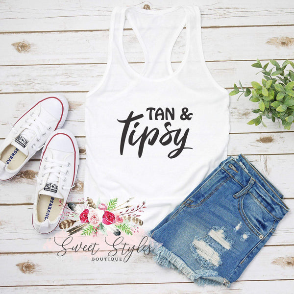 Tan & Tipsy Tank Top-Sweet Styles boutique