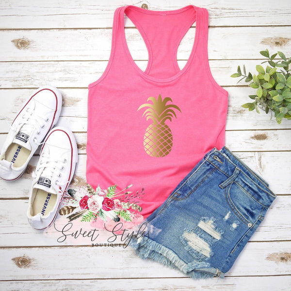 Gold Pineapple summer Tank Top-Sweet Styles boutique