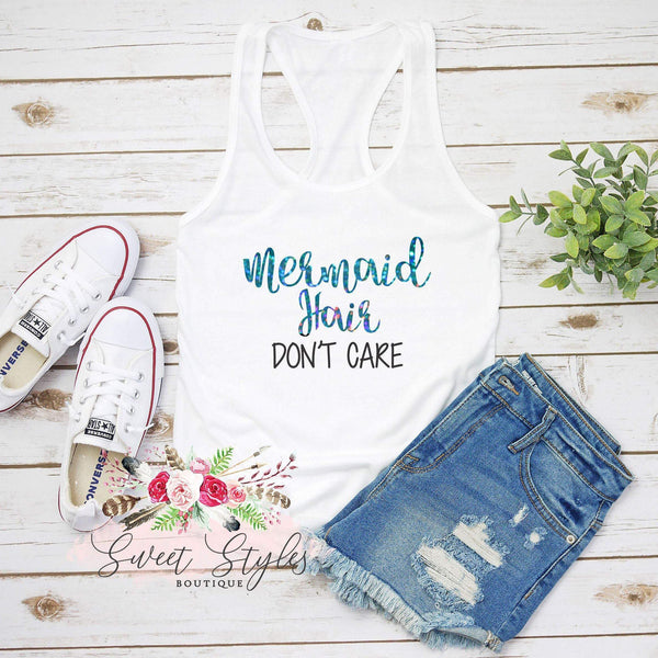 Mermaid hair Don't Care holographic Tank Top-Sweet Styles boutique
