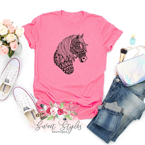Animal lover Horse Mandala T-Shirt-Sweet Styles boutique