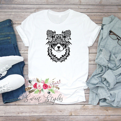 Long haired chihuahua mandala T-shirt-Sweet Styles boutique