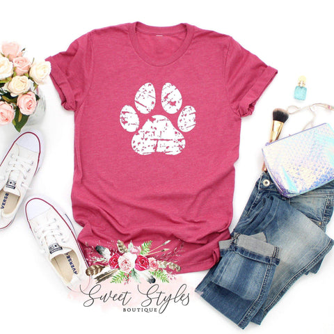 Dog lover distressed dog paw graphic T-shirt-Sweet Styles boutique
