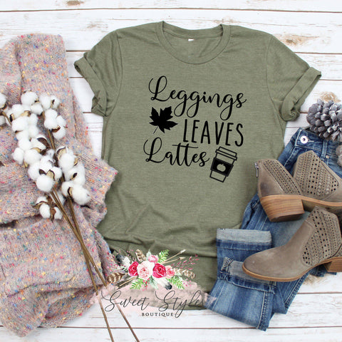Leggings leaves & lattes T-shirt-Sweet Styles boutique