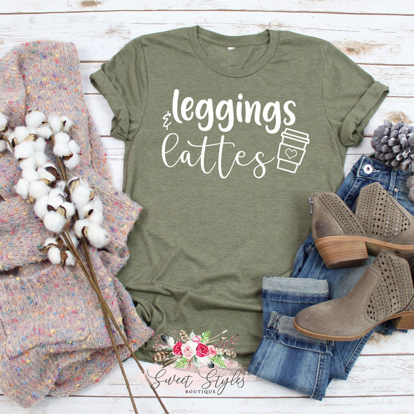 Leggings and lattes fall T-shirt-Sweet Styles boutique