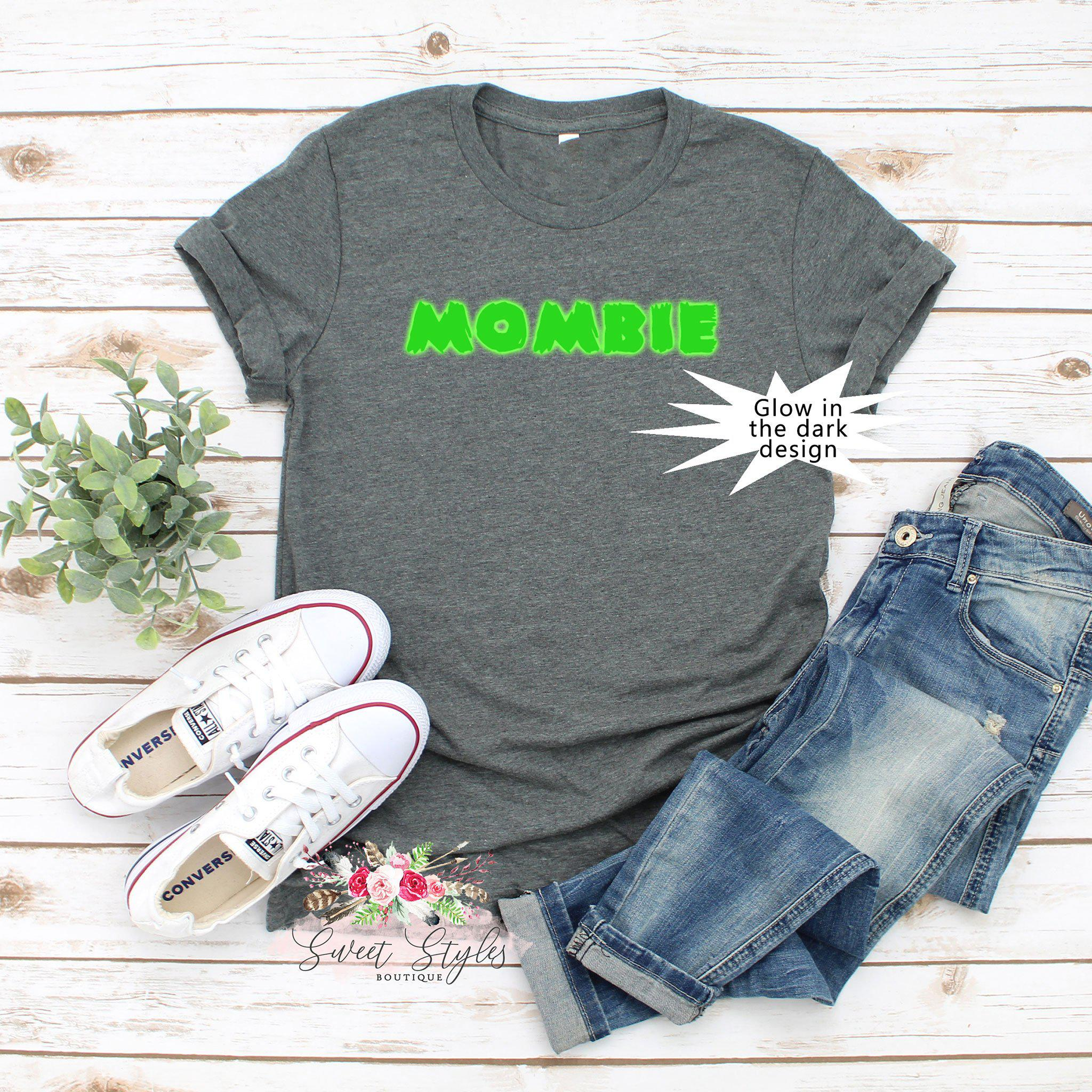 Mombie zombie fall Halloween glow T-shirt-Sweet Styles boutique