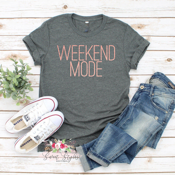 Weekend mode rose gold T-shirt-Sweet Styles boutique