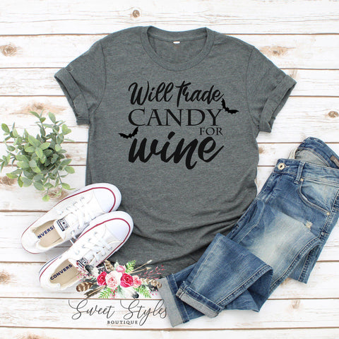 Will trade candy for win Halloween T-shirt-Sweet Styles boutique