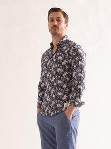 Camicia manica lunga collo italiano in puro cotone slim fit