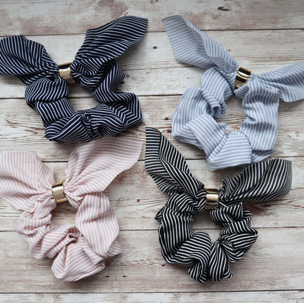Stripped Bow Scrunchies