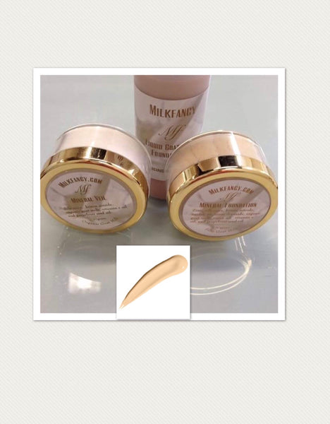 Milkfancy light golden goat milk infused foundation set/free ship