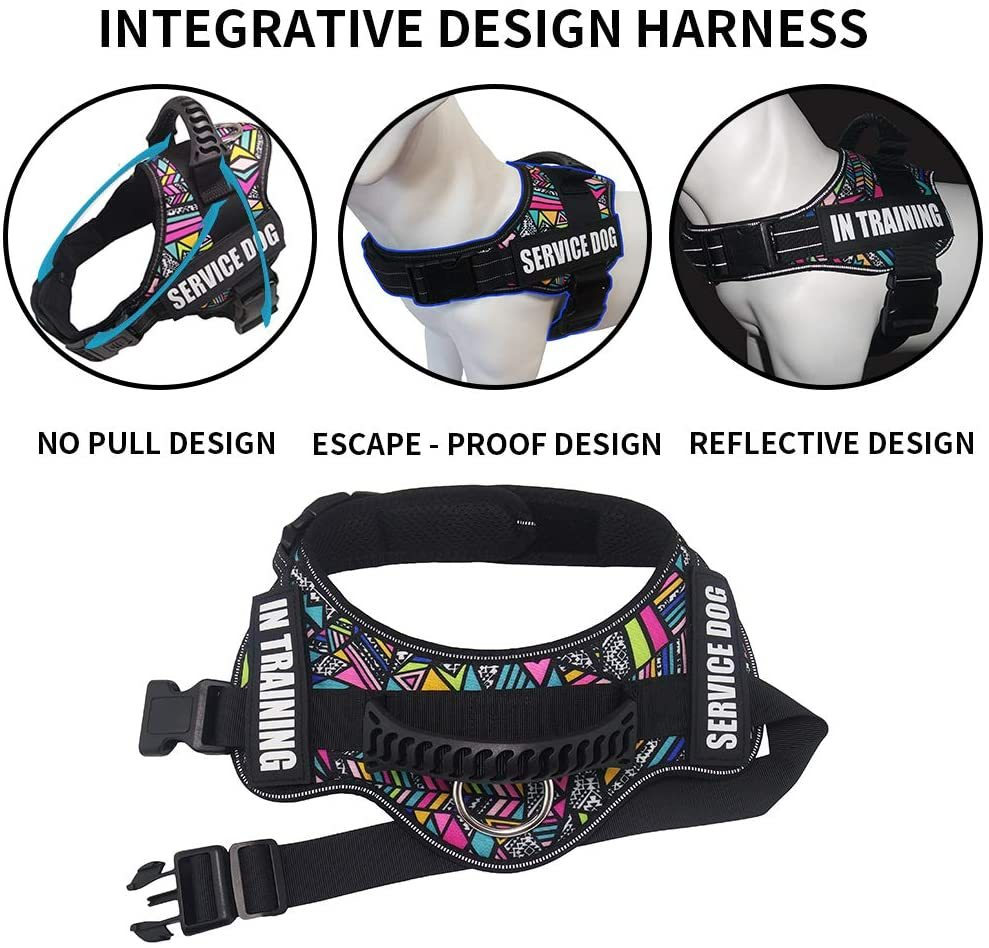 No Pull Dog Harness with name badges tag and reflective strips