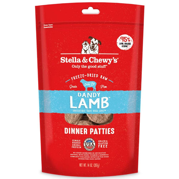 Stella & Chewy's Dandy Lamb Grain Free Dinner Patties Freeze Dried Raw Dog Food
