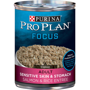 Purina Pro Plan Focus Sensitive Skin & Stomach Salmon & Rice Pate Canned Dog Food