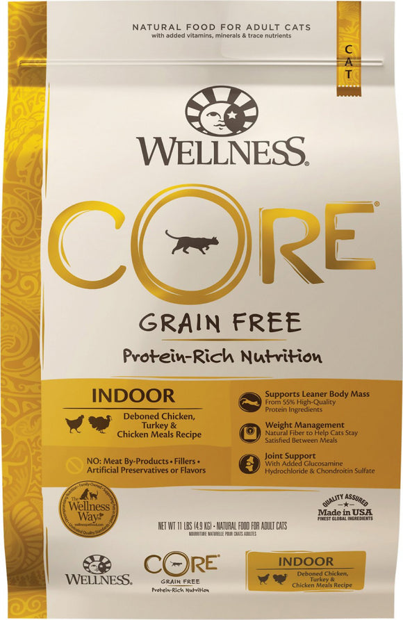 Wellness CORE Grain Free Natural Indoor Health Chicken and Turkey Recipe Dry Cat Food