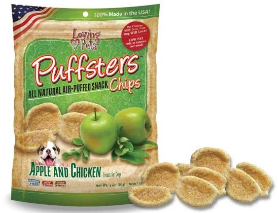 Loving Pets Puffsters Chips Apple and Chicken Dog Air Puffed Treats