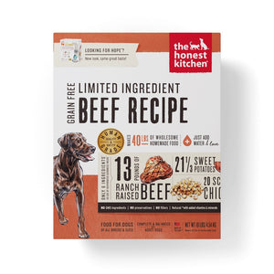 The Honest Kitchen Limited Ingredient Grain Free Beef Recipe Dehydrated Dog Food