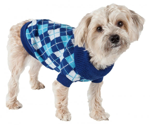 Pet Life Blue Argyle Knitted Dog Sweater
