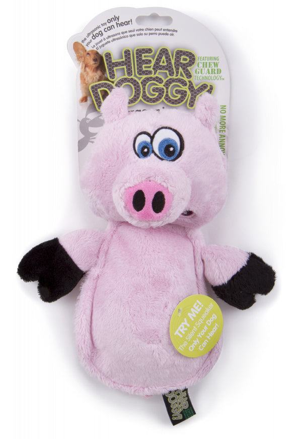 Go Dog Hear Doggy Flattie Pig With Chew Guard Technology And Silent Squeak Technology Plush Dog Toy