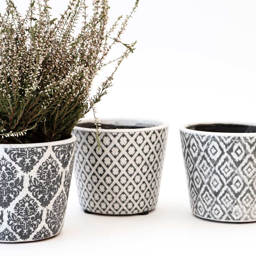 Vaso pattern black - set di 3