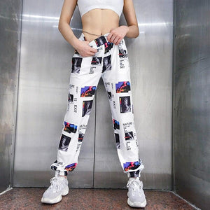 3D Illustration Print High-Waist Sweatpants - VioletMosh