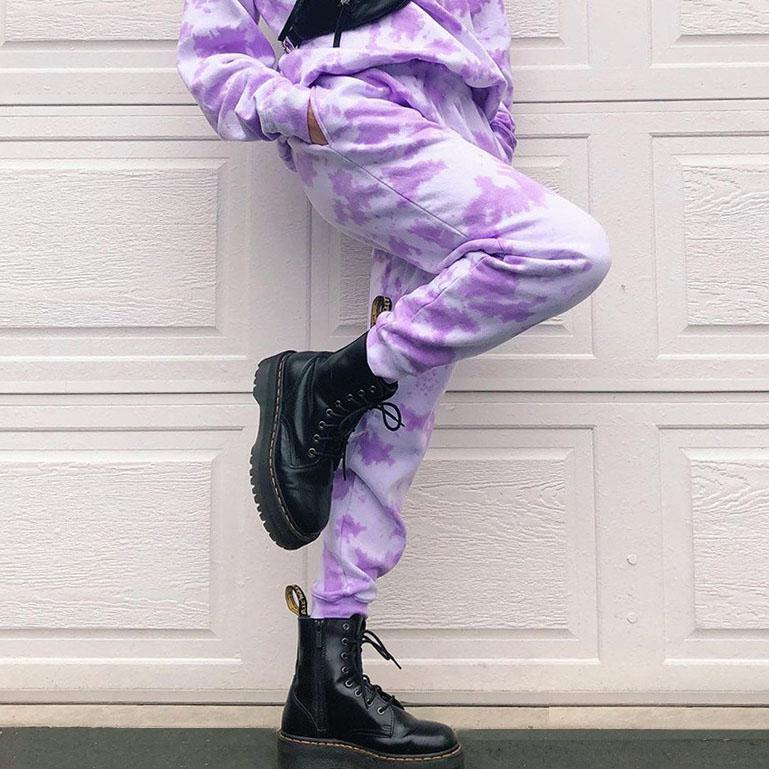 Lavender Tie-Dye High Waist Sweatpants - VioletMosh