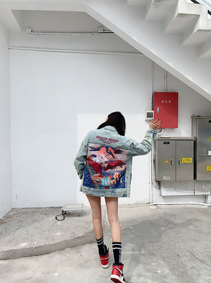 Women's denim jacket with dinosaur path
