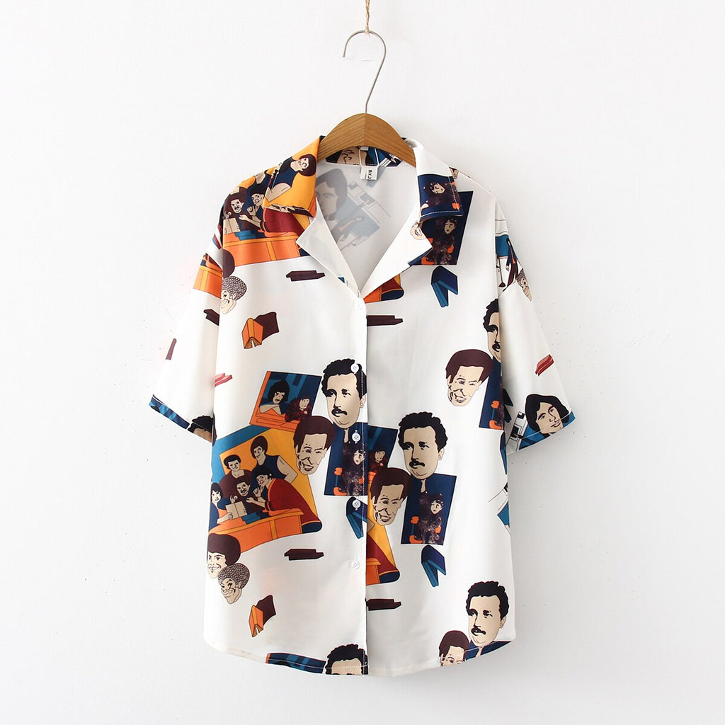 Women's White Shirt Printed With Famous Faces - VioletMosh