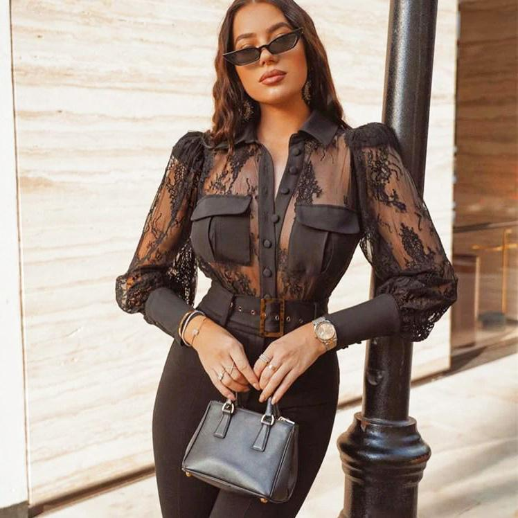 Transparent Lace Blouse - VioletMosh