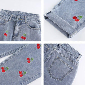 Cherry Embroidered High Waisted Jeans - VioletMosh