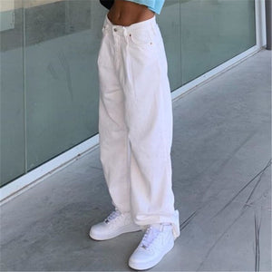 White Straight High Waist Pant
