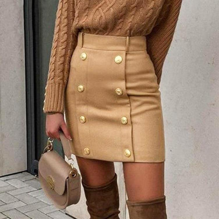 Camel Bodycon Mini Skirt - VioletMosh