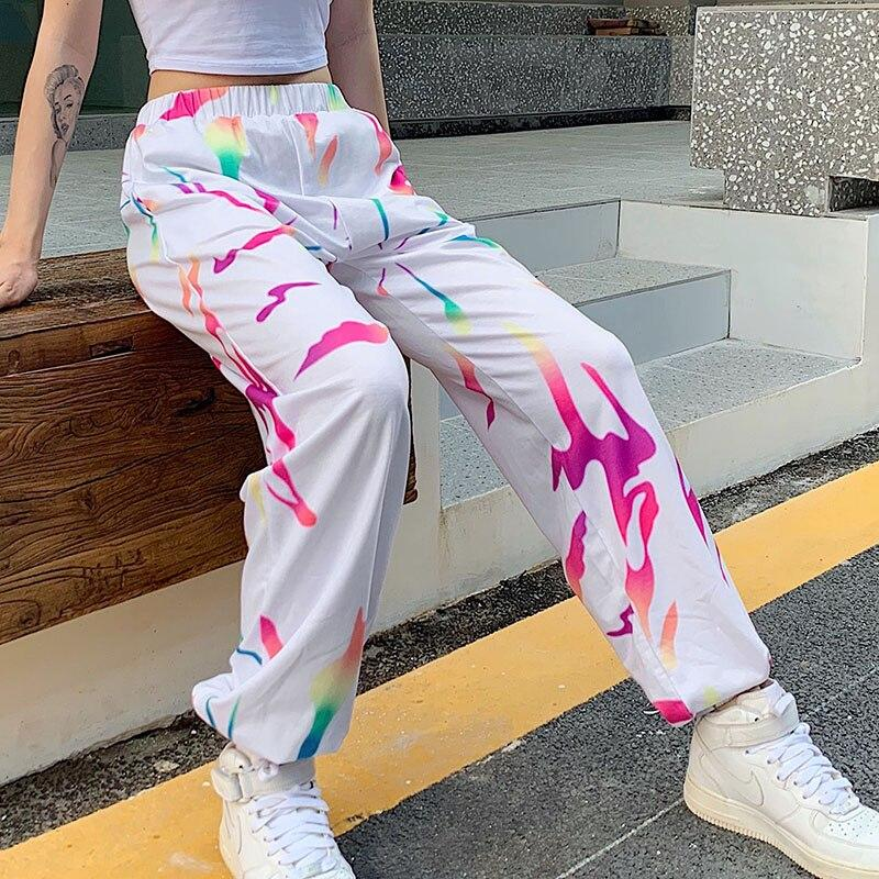 White Tie-Dye High Waist Sweatpants - VioletMosh