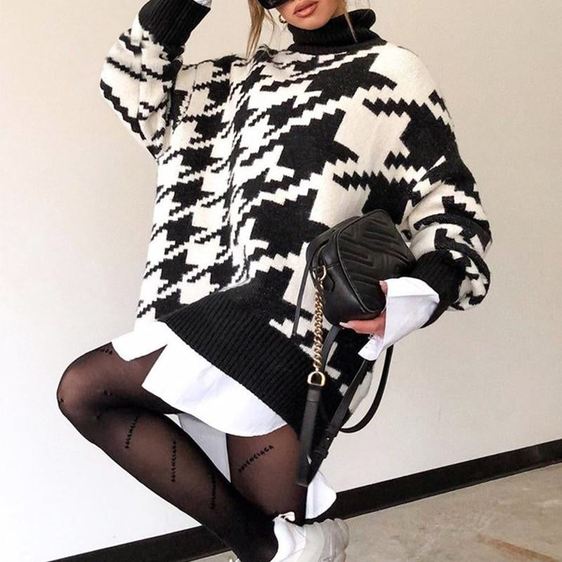 Turtleneck Houndstooth sweater