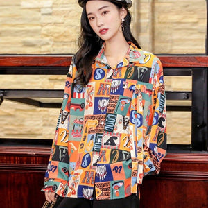 Oversized Retro Print Poose Blouse - VioletMosh