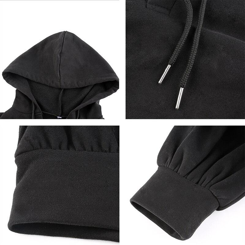 Casual Black Cropped Hoodie - VioletMosh