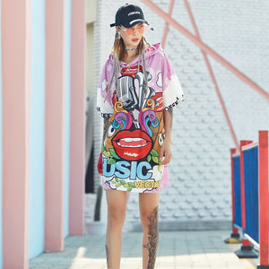 Oversized Cartoon Print Hooded Tee - VioletMosh