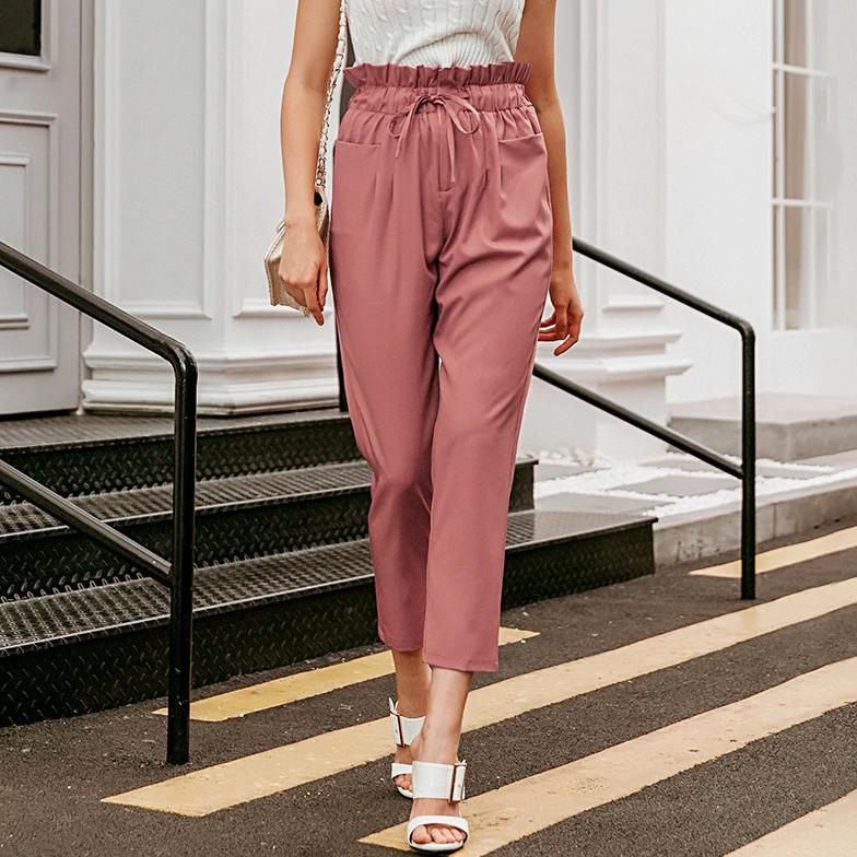 Casual High waist ruffled pants - VioletMosh